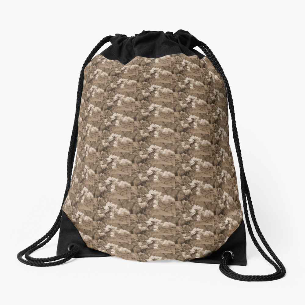 cherry blossoms in the sky, sepia Drawstring Bag