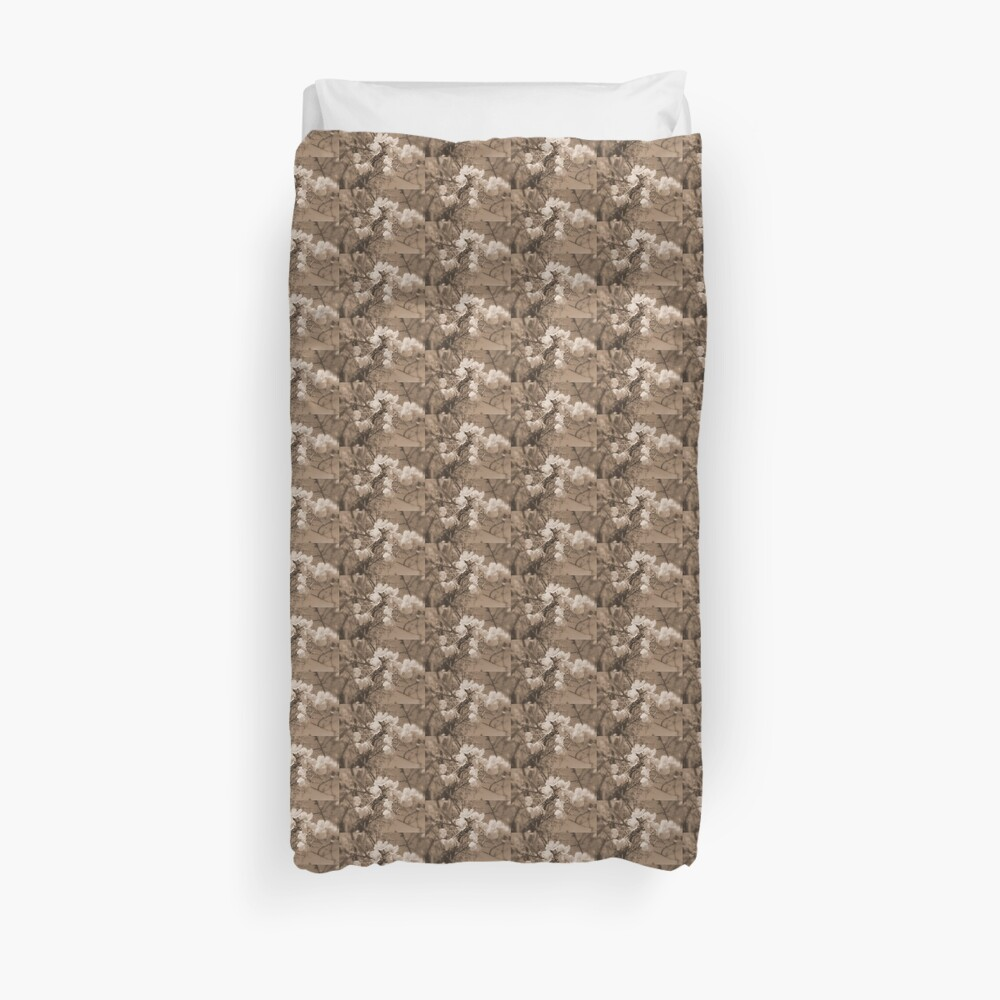 cherry blossoms in the sky, sepia Duvet Cover