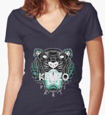 kenzo paris - white Women's Fitted V-Neck T-Shirt