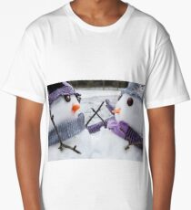 Two cute snowmen close up dressed for winter Long T-Shirt