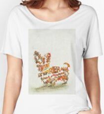 Yorkshire Terrier Typographic Watercolor Painting Women's Relaxed Fit T-Shirt