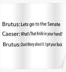 Funny History Joke, Caesar and Brutus, Caesar's murder Poster