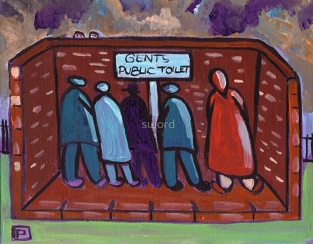 Gents public toilet by sword
