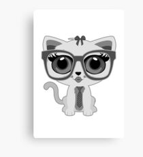 Kitten Nerd - Grey Canvas Print