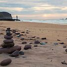 Sandwood Bay Stone Stacks by derekbeattie