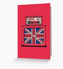 Union Jack Guitar Amp - Red Single Greeting Card