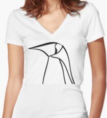 Line Penguin Women's Fitted V-Neck T-Shirt