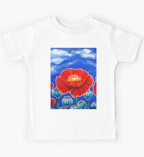 Red Poppies and Pods Cloudy Sky Flowers Wildflowers Blue Beautiful Bold Bright Colors Kids Tee