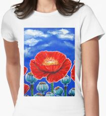 Red Poppies and Pods Cloudy Sky Flowers Wildflowers Blue Beautiful Bold Bright Colors Womens Fitted T-Shirt