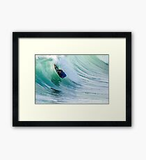 Bodyboarder in action Framed Print