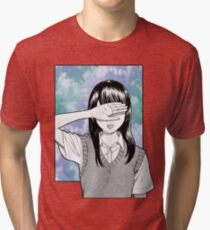 Lonely girl sad aesthetic no text Tri-blend T-Shirt