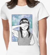 Lonely girl sad aesthetic no text Womens Fitted T-Shirt