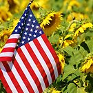 Flag and Sunflowers by jeanlphotos