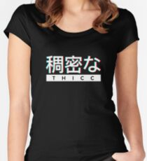 "Aesthetic Japanese ""THICC"" Logo Women's Fitted Scoop T-Shirt"