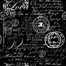 White Vintage Handwriting on Black by artsandsoul