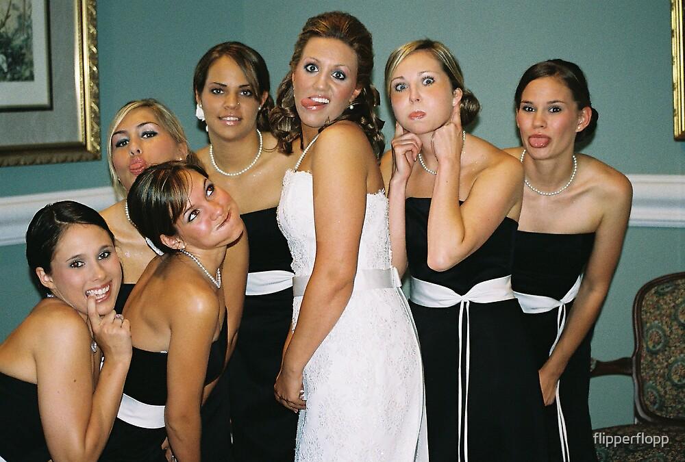 the bride & bridesmaids goofin around by flipperflopp