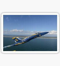 An F/A-18 Hornet from the Blue Angels during a training flight. Sticker