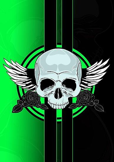 Wing Skull - GREEN by Adam Santana