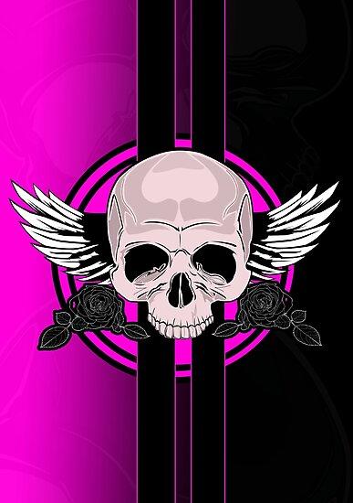 Wing Skull - PINK by Adam Santana