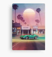 Synthwave Sunset Drive Metal Print