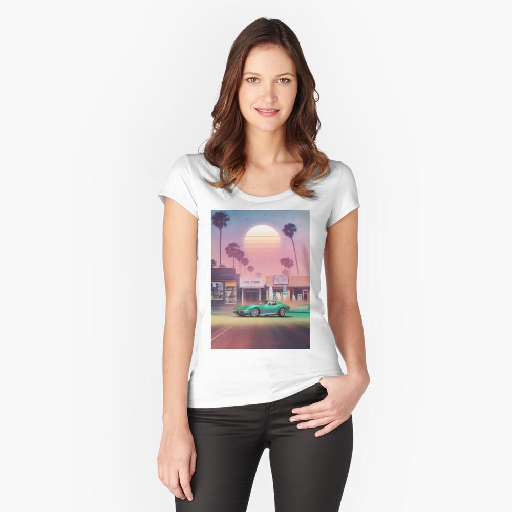 Synthwave Sunset Drive Camiseta entallada de cuello redondo