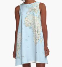 World Map A-Line Dress