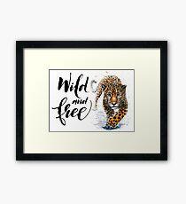 Jaguar leopard chita watercolor wildlife predator kostart animal Framed Print
