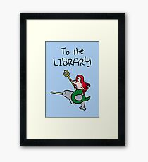 To The Library (Mermaid Riding Narwhal) Framed Print