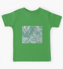 Lush evergreen ferns - rose gold accents Kids Tee