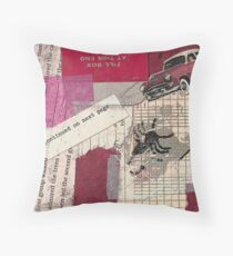 "Original Collage - ""Red Car"" Throw Pillow"