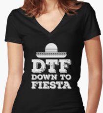 DTF Down to Fiesta Cinco De Mayo Celebration Design Women's Fitted V-Neck T-Shirt