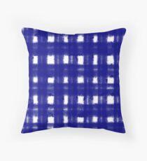 Cross Hatched Navy Blue Pattern Design Throw Pillow