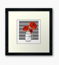 Beautiful red poppies in mason jar Framed Print
