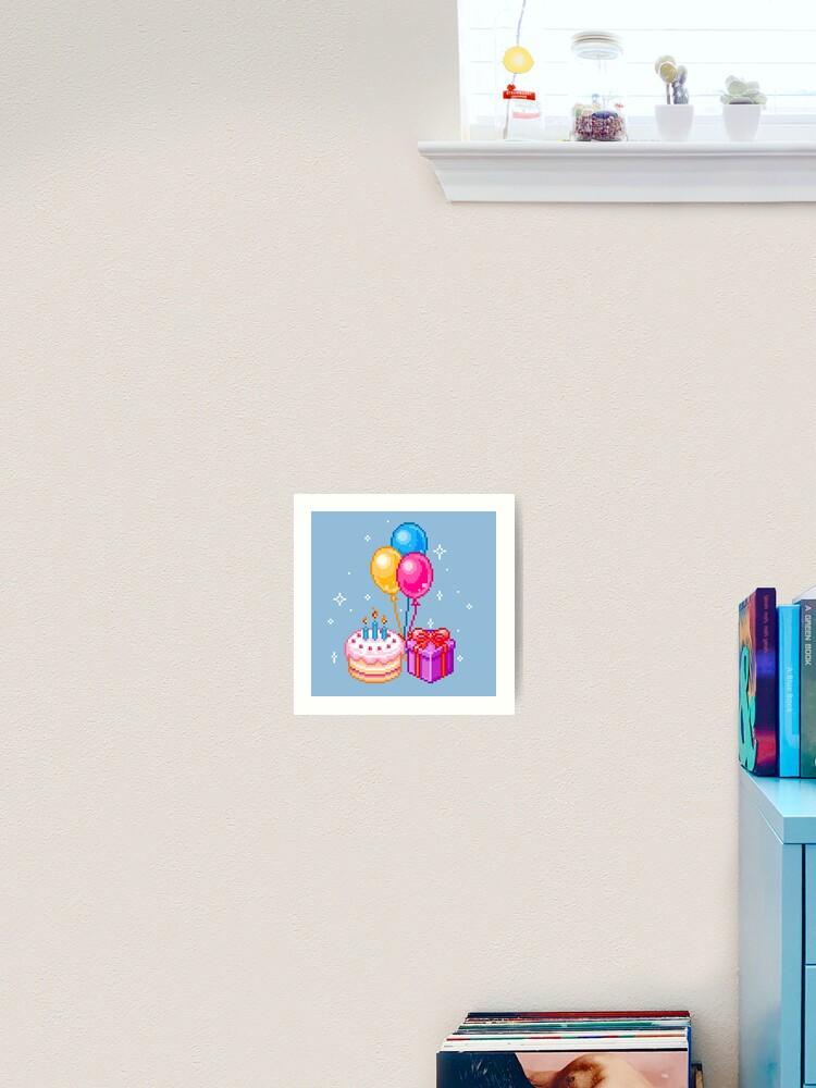 Pixel Art Joyeux Anniversaire Impression Artistique
