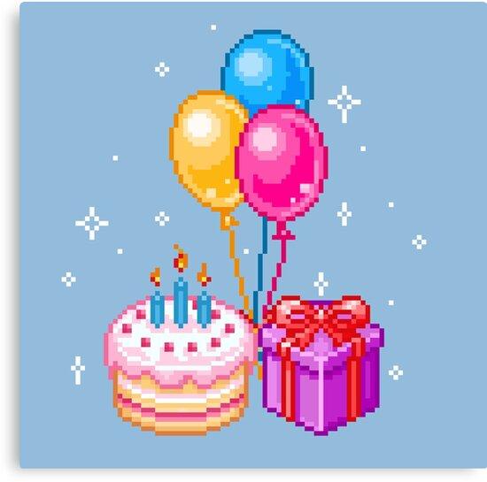 Pixel Art Happy Birthday Canvas Print By Maicakes