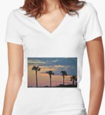 Palm Trees At Sunset Women's Fitted V-Neck T-Shirt
