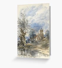 John Constable R.A. A WILLOW BESIDE WATER, A CHURCH BEYOND Greeting Card