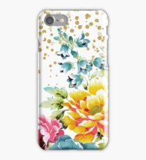 watercolor floral paint and gold confetti design iPhone Case/Skin