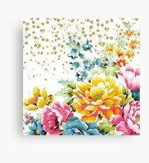 watercolor floral paint and gold confetti design Canvas Print