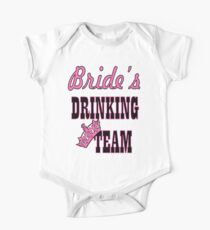 cute pink bride's drinking team bachelorette party One Piece - Short Sleeve