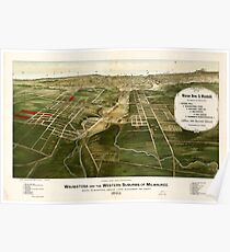 Panoramic Maps Wauwatosa and the western suburbs of Milwaukee 1892 Poster