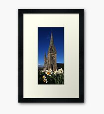Llandaff Cathedral and Daffodils Framed Print