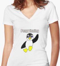 Cute Penguin Pengwinning Women's Fitted V-Neck T-Shirt