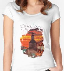Michigan - St Joseph lighthouse Women's Fitted Scoop T-Shirt