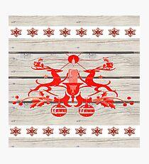 rustic snowflakes boho primitive christmas nordic reindeer  Photographic Print