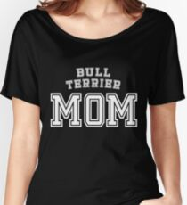 Bull Terrier Mom Mother Pet Dog Baby Shirt Cute Funny T-Shirt Funny Cute Gift For High School College Student Dog Lover Women's Relaxed Fit T-Shirt