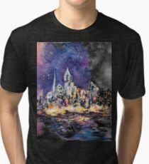 Lucid Cartography Watercolour Painting (Cityscape) Tri-blend T-Shirt