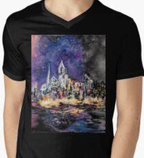 Lucid Cartography Watercolour Painting (Cityscape) Men's V-Neck T-Shirt