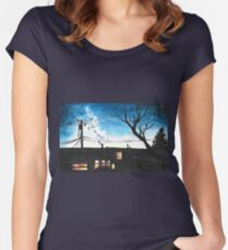 Condos at Dusk Watercolour Landscape Painting Women's Fitted Scoop T-Shirt