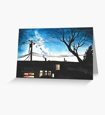 Condos at Dusk Watercolour Landscape Painting Greeting Card